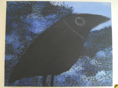 Black bird in blue