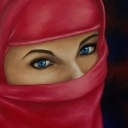 In red hijab